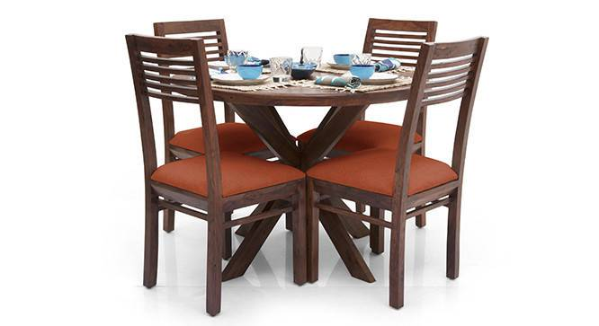 Liana - Zella 4 Seater Dining Table Set (Teak Finish, Burnt Orange) by Urban Ladder - - 23275