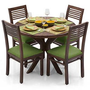 Liana - Zella 4 Seater Dining Table Set (Teak Finish, Avocado Green) by Urban Ladder - - 23285