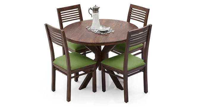 Liana - Zella 4 Seater Dining Table Set (Teak Finish, Avocado Green) by Urban Ladder - - 23286