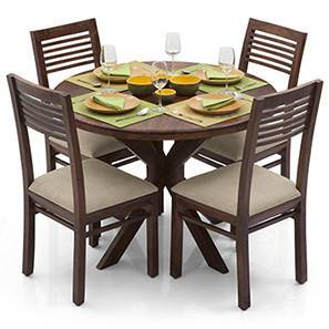 Liana - Zella 4 Seater Dining Table Set (Teak Finish, Wheat Brown) by Urban Ladder - - 23296