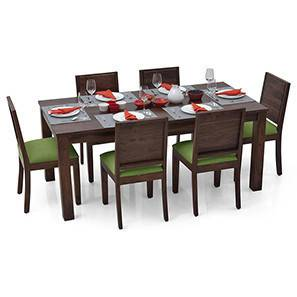 Arabia XL - Oribi 6 Seater Dining Set (Mahogany Finish, Avocado Green) by Urban Ladder