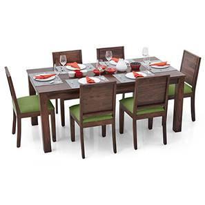 Arabia XL - Oribi 6 Seater Dining Set (Teak Finish, Avocado Green) by Urban Ladder