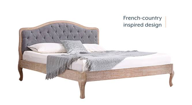 Lyon Bed (Grey, King Bed Size, Natural Finish) by Urban Ladder