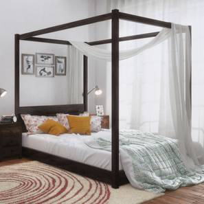 Striado Four Poster Bed (Mahogany Finish, Queen Bed Size) by Urban Ladder