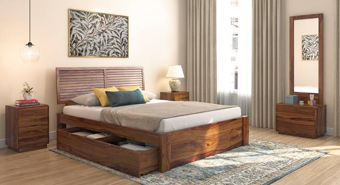 Terence Storage Bed (Solid Wood) (Teak Finish, Queen Bed Size, Drawer Storage Type) by Urban Ladder - Design 1 Full View - 237452