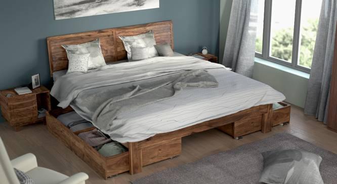 Terence Storage Bed (Teak Finish, King Bed Size, Drawer Storage Type) by Urban Ladder