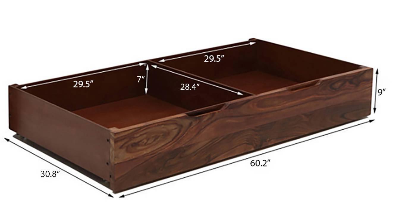 Terence storage bed teak finish king bed size dim40