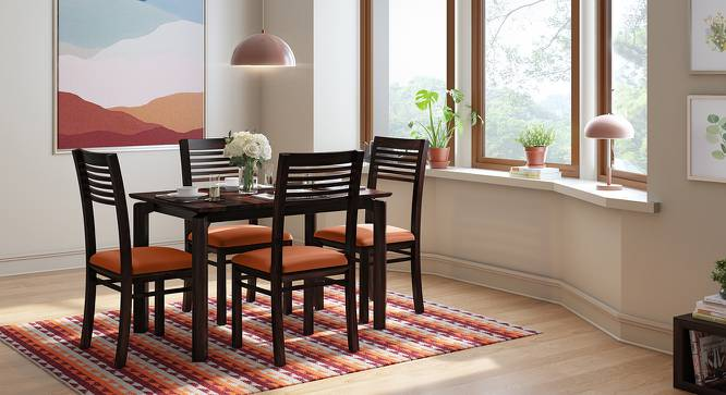 Catria - Zella 4 Seater Dining Table Set (Mahogany Finish, Burnt Orange) by Urban Ladder