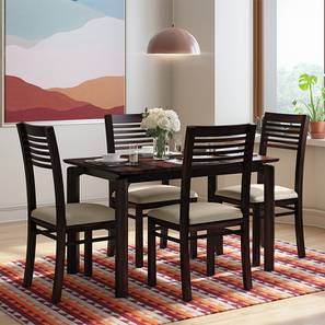 Catria - Zella 4 Seater Dining Table Set (Mahogany Finish, Wheat Brown) by Urban Ladder