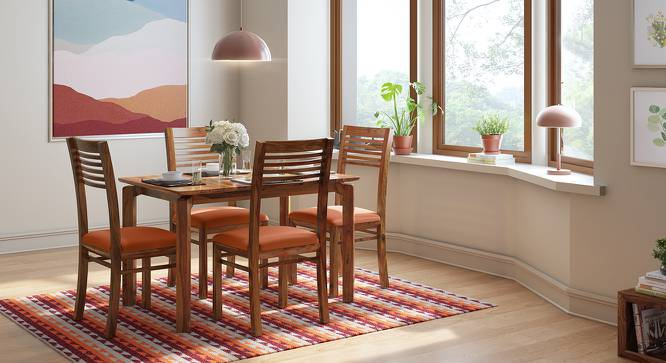 Catria - Zella 4 Seater Dining Table Set (Teak Finish, Burnt Orange) by Urban Ladder