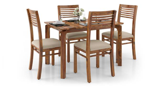 Catria - Zella 4 Seater Dining Table Set (Teak Finish, Wheat Brown) by Urban Ladder