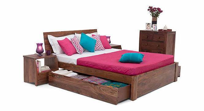 Boston Storage Bed (Teak Finish, Queen Bed Size, Drawer Storage Type) by Urban Ladder