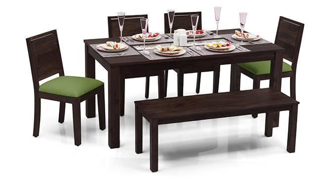 Brighton Large - Oribi 6 Seater Dining Table Set (With Bench) (Mahogany Finish, Avocado Green) by Urban Ladder - - 23901