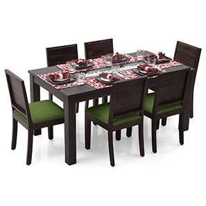 Brighton Large - Oribi 6 Seater Dining Table Set (Mahogany Finish, Avocado Green) by Urban Ladder