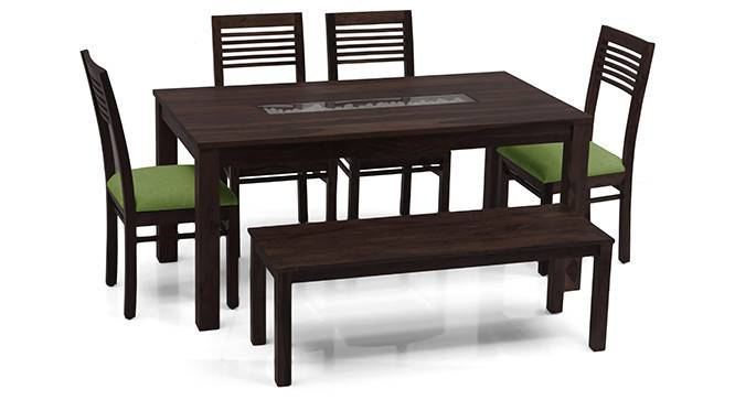 Brighton Large - Zella 6 Seater Dining Table Set (With Bench) (Mahogany Finish, Avocado Green) by Urban Ladder - - 23948