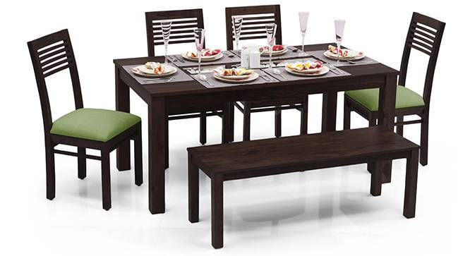 Brighton Large - Zella 6 Seater Dining Table Set (With Bench) (Mahogany Finish, Avocado Green) by Urban Ladder - - 23949