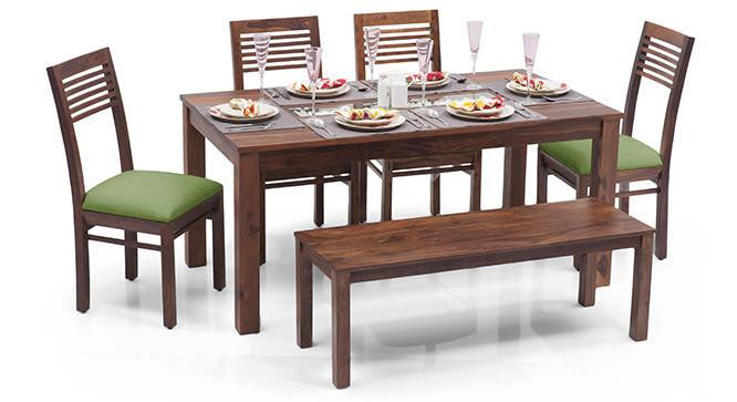 Brighton Large - Zella 6 Seater Dining Table Set (With Bench) (Teak Finish, Avocado Green) by Urban Ladder