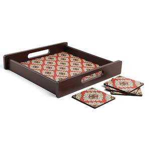 Shaaz Tray with Coaster (Multi Colour) by Urban Ladder