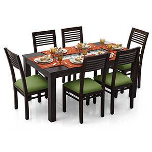 Brighton Large - Zella 6 Seater Dining Table Set (Mahogany Finish, Avocado Green) by Urban Ladder - Front View Design 1 - 23974