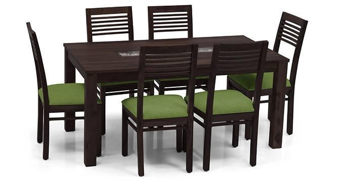 Brighton Large - Zella 6 Seater Dining Table Set (Mahogany Finish, Avocado Green) by Urban Ladder