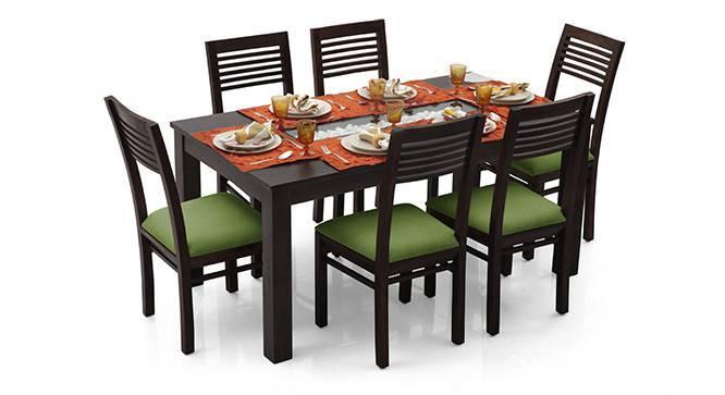 Brighton Large - Zella 6 Seater Dining Table Set (Mahogany Finish, Avocado Green) by Urban Ladder - Cross View Design 1 - 23975