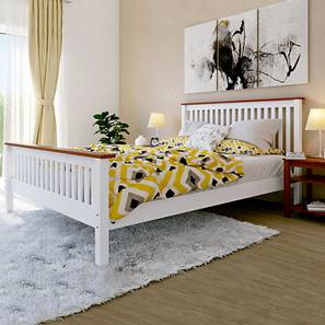 Athens Bed with Dreamlite Bonnel Spring Mattress (Queen Bed Size, White Finish) by Urban Ladder