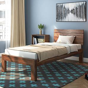 Boston Single Bed with Dreamlite Bonnel Spring Mattress (Teak Finish) by Urban Ladder