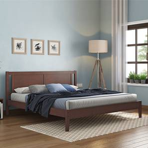 Brandenberg Bed with Essential Foam Mattress (King Bed Size, Dark Walnut Finish) by Urban Ladder