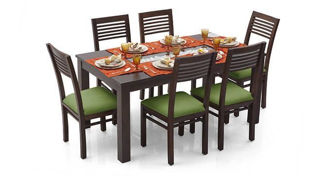 Brighton Large - Zella 6 Seater Dining Table Set (Teak Finish, Avocado Green) by Urban Ladder