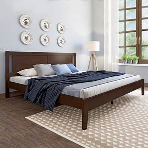 Brandenberg Bed with Essential Foam Mattress (Queen Bed Size, Dark Walnut Finish) by Urban Ladder