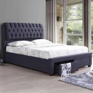 Cassiope Upholstered Storage Bed with Essential Foam Mattress (Queen Bed Size, Charcoal Grey) by Urban Ladder