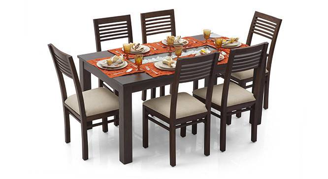 Brighton Large - Zella 6 Seater Dining Table Set (Mahogany Finish, Wheat Brown) by Urban Ladder
