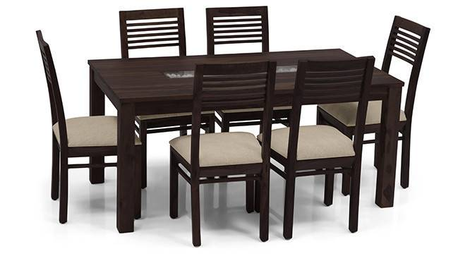 Brighton Large - Zella 6 Seater Dining Table Set (Mahogany Finish, Wheat Brown) by Urban Ladder - - 23997