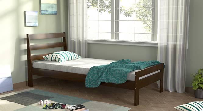 Osaka Single Bed with Essential Foam Mattress (Single Bed Size, Dark Walnut Finish) by Urban Ladder