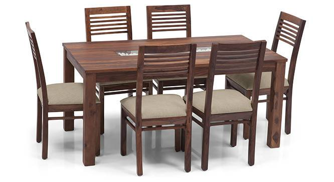 Brighton Large - Zella 6 Seater Dining Table Set (Teak Finish, Wheat Brown) by Urban Ladder