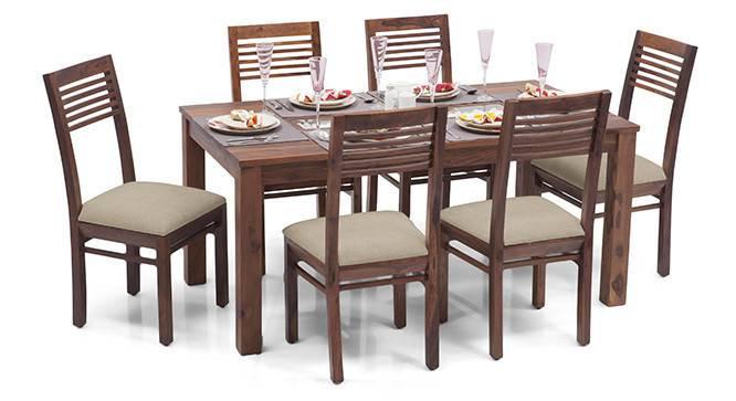 Brighton Large - Zella 6 Seater Dining Table Set (Teak Finish, Wheat Brown) by Urban Ladder