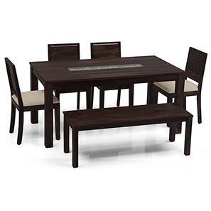 Brighton - Large Oribi 6 Seater Dining Table Set (With Bench) (Mahogany Finish, Wheat Brown) by Urban Ladder