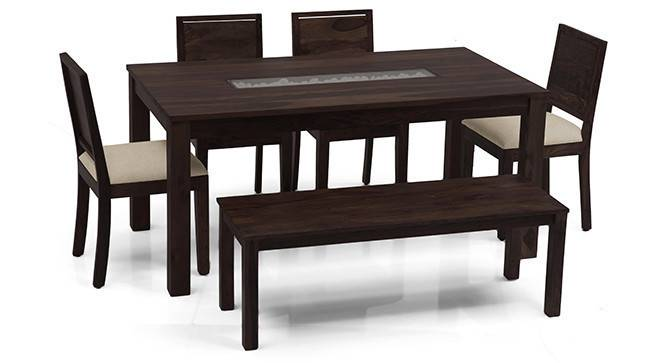 Brighton Large - Oribi 6 Seater Dining Table Set (With Bench) (Mahogany Finish, Wheat Brown) by Urban Ladder - - 24039