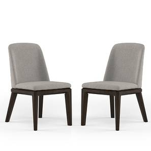 Taarkashi Dining Chair - Set Of 2 (American Walnut Finish, Gainsboro Grey) by Urban Ladder - Design 1 Full View - 240393