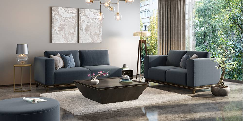 Taarkashi Sofa With Integrated Side Table (Marengo Grey Velvet) (1-seater Custom Set - Sofas, None Standard Set - Sofas, Fabric Sofa Material, Regular Sofa Size, Regular Sofa Type, Marengo Grey Velvet) by Urban Ladder - - 240414