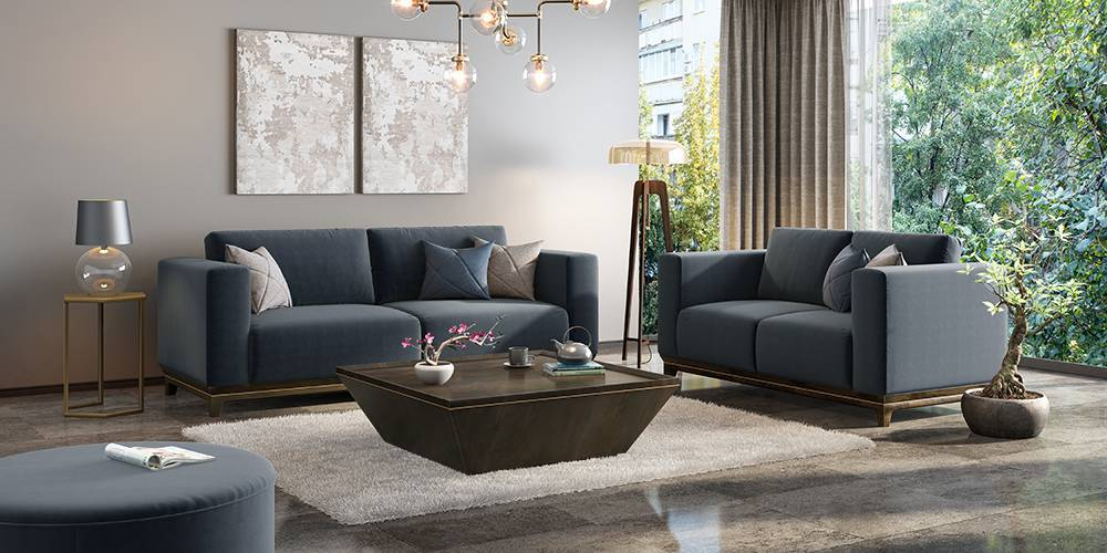 Taarkashi Sofa (Marengo Grey Velvet) (Ottoman Custom Set - Sofas, None Standard Set - Sofas, Fabric Sofa Material, Regular Sofa Size, Regular Sofa Type, Marengo Grey Velvet) by Urban Ladder - - 240447