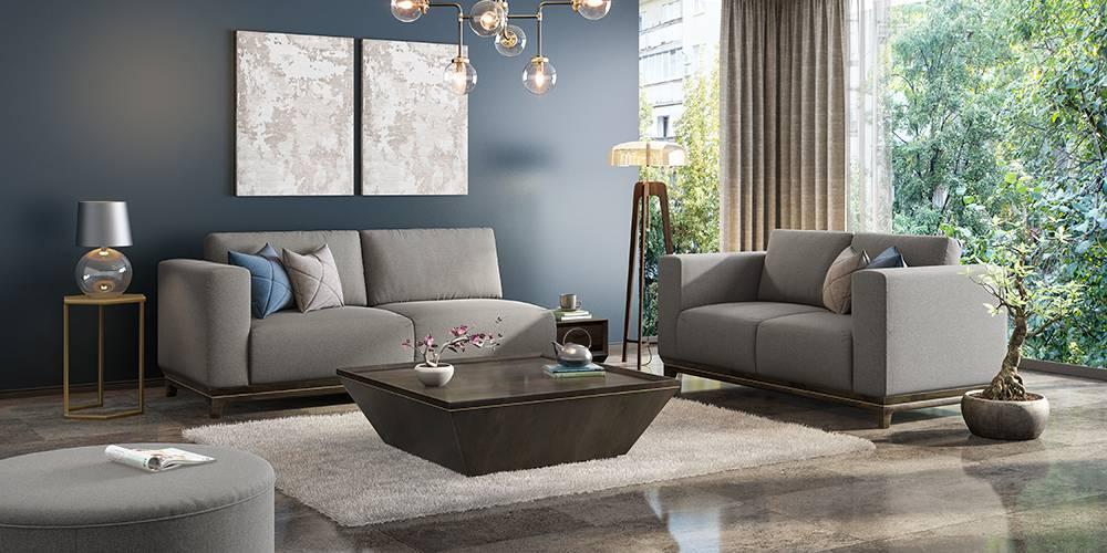 Taarkashi Sofa With Integrated Side Table (Gainsboro Grey) (1-seater Custom Set - Sofas, None Standard Set - Sofas, Fabric Sofa Material, Regular Sofa Size, Regular Sofa Type, Gainsboro Grey) by Urban Ladder - - 240508