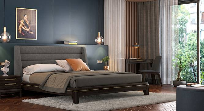 Taarkashi Upholstered Bed (King Bed Size, American Walnut Finish, Abbott Grey) by Urban Ladder - Design 1 Full View - 240590