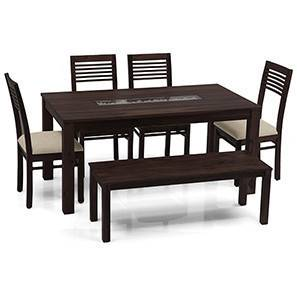 Brighton Large - Zella 6 Seater Dining Table Set (With Bench) (Mahogany Finish, Wheat Brown) by Urban Ladder - - 24066