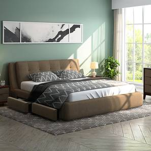 Stanhope Upholstered Storage Bed (Queen Bed Size, Mist Brown) by Urban Ladder - Design 1 - 240655