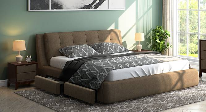Stanhope Upholstered Storage Bed (Queen Bed Size, Mist Brown) by Urban Ladder - Design 1 Full View - 240656