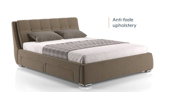 Stanhope Upholstered Storage Bed (Queen Bed Size, Mist Brown) by Urban Ladder