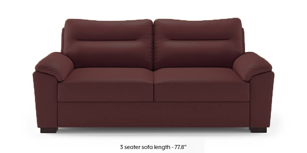 Adelaide Compact Leatherette Sofa (Burgundy) (1-seater Custom Set - Sofas, None Standard Set - Sofas, Burgundy, Leatherette Sofa Material, Compact Sofa Size, Soft Cushion Type, Regular Sofa Type) by Urban Ladder