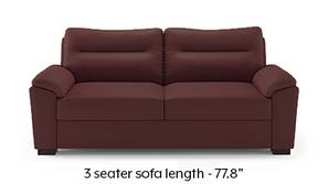 Adelaide Compact Leatherette Sofa (Burgundy)