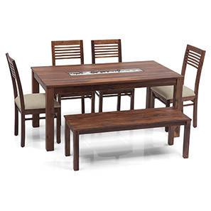 Brighton Large - Zella 6 Seater Dining Table Set (With Bench) (Teak Finish, Wheat Brown) by Urban Ladder
